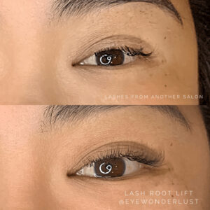 Eyewonderlust Eyelash Extensions for Downward Facing Lashes - Before and After Cosmetic Treatment and Correction Comparison