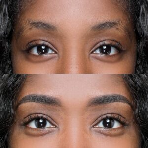 Eyewonderlust Powder Brows vs Microblading - Powder Brows Effect on Female Brows Before and After Image